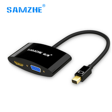 Samzhe 2 in 1 Mini DP DisplayPort to HDMI VGA Cable Adapter for Apple MacBook Air Pro mini iMac Mac Compatible with Thunderbolt