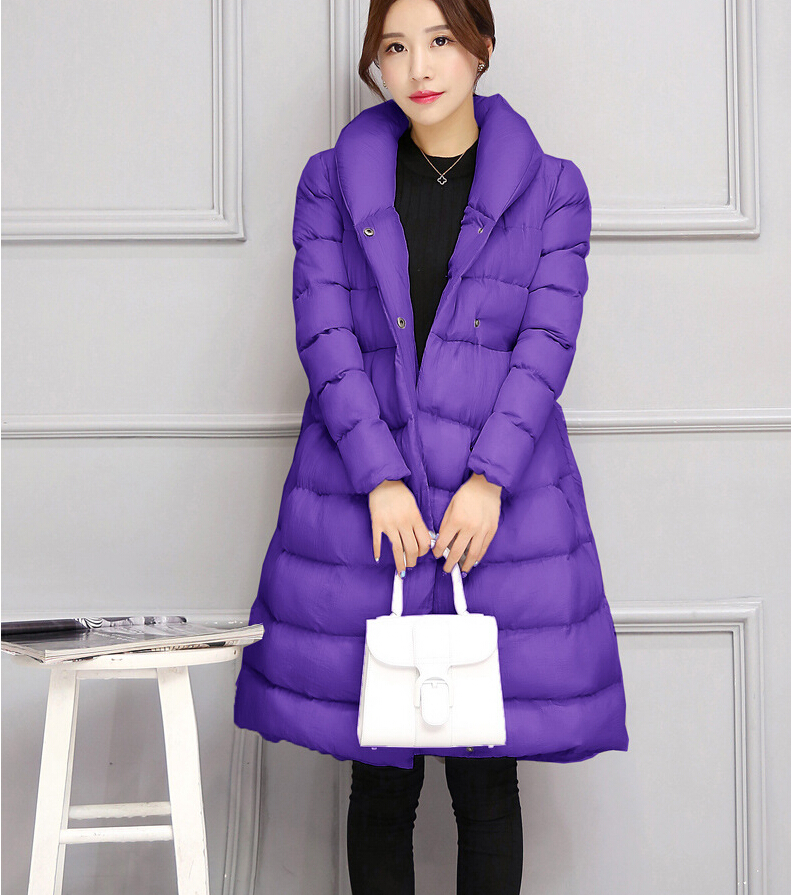 ФОТО 2016 Fashion Women Cotton Down jacket Elegant slim Medium Long Coat Thick Super Warm Leisure Coat w-021