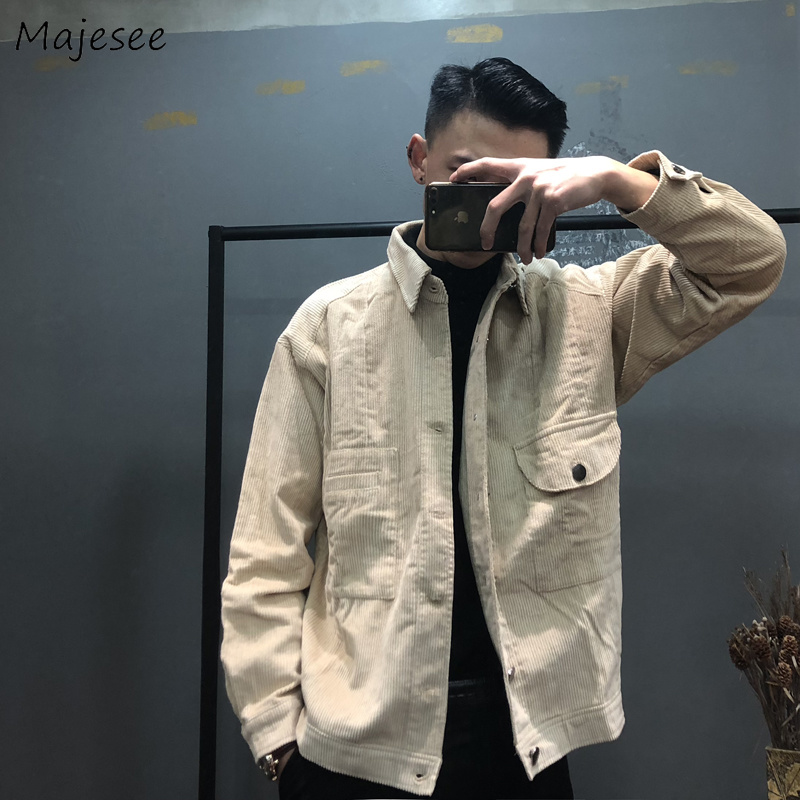 Jackets Men Large Size Corduroy Turn-down Collar Solid Simple All-match Korean Style Single Breasted Jacket Mens Soft Ulzzang