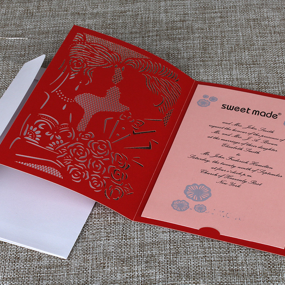 10cs Laser Cut Wedding Invitation Card Kit Bride Groom Carved ...