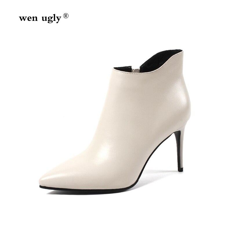 Scarpe Sexy donna 35 grande tacco con Beige a in 2018 da Wenugly 43  cerniera da nero punta alto Taglia inverno autunno donna pelle Stivaletti  capWXAn8R 6a4f673855e