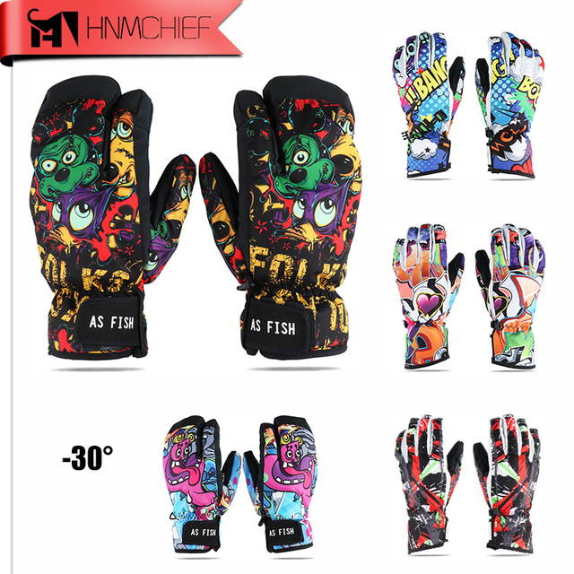 Monster Ski Gloves Men & Women Waterproof Winter Cycling Skiing Snowboard Gloves Cartoon Colorful Gloves Three - finger gloves