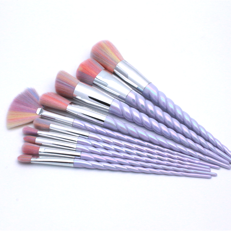 10 Pcs Professional Unicorn Makeup Brush Set Rainbow Diamond Face & Eye Powder Foundation Eyebrow Make Up Kit Tools