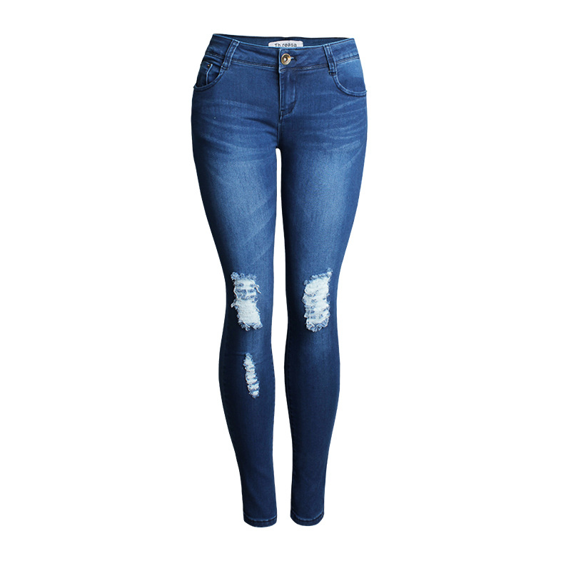 KL860 New ripped jeans for women mid waist scratched denim hollow out femme skinny butt lifting pencil pants skinny slim mid waist ripped jeans slim pants for women scratched jean femme pencil trousers taille haute 2016