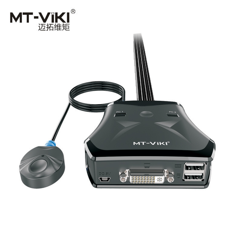 New Design MT-VIKI 2 Port DVI KVM Switch USB With Wired Smart Manual Desktop Extension Switcher And Original Cable MT-201DL