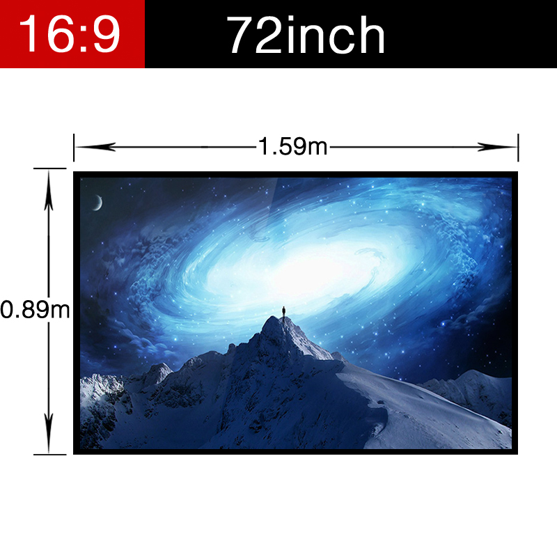 HD Home Theater Foldable Screen 72inch 16:9 Wide Cinema Matt white Projector PVC Soft Projection Video with holes Portable luxury motorized electric tab tension 139inch 16 10 matte white home theater high quality cinema projector screen
