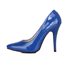 Hot Sales Big Size 33 44 Yellow Blue Red Glossy Women Nude Pumps Pointed Toe Super