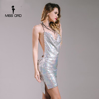 Missord 2019 Sexy sleeveless Deep V halter split sequin dress backless metal Christmas party dress FT4928
