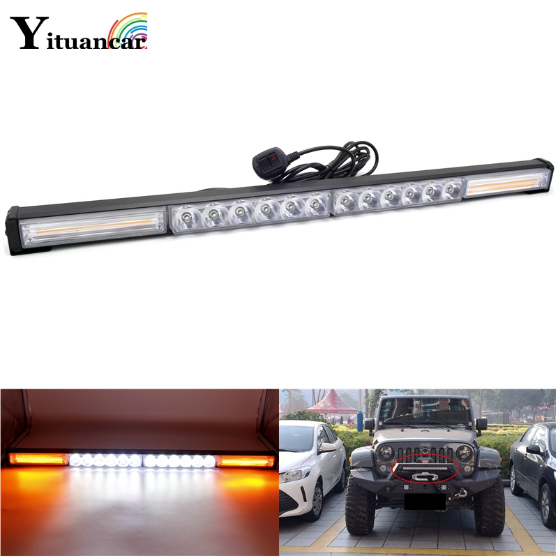 Yituancar 1Pcs 76W 66CM COB LED Strobe Flash Warning Car Light Bar 13 Modes Styling High/Low Beam Police Emergency Fog Work Lamp free shipping high power 72w car cob warning light car styling external emergency strobe light bar flash white lamp