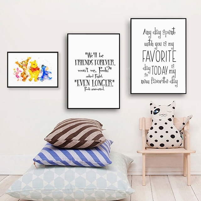 Winnie The Pooh Persahabatan Kutipan Kanvas Seni Cetak Dan Poster