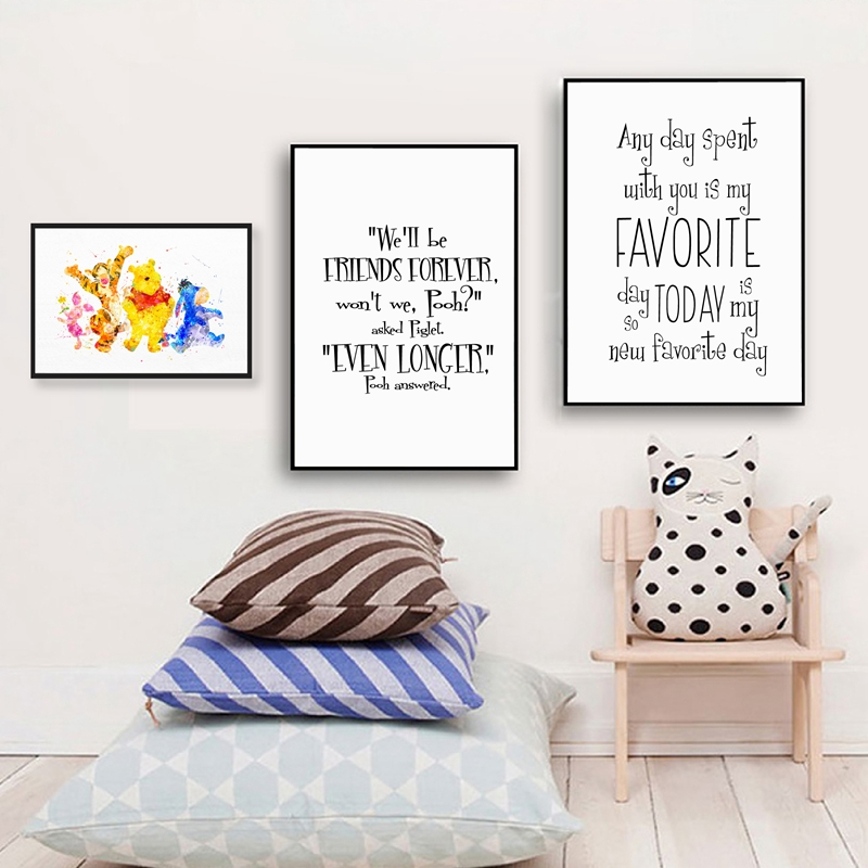 Winnie the Pooh Friendship Quote Canvas Art Print and Poster , Cartoon Winnie Picture Canvas Painting Kids Room Wall Art Decor image