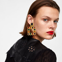 FASHIONSNOOPS Vintage Statement Earrings For Girls Bohemain Geometric Crystal Drop Earring za Jewelry(China)