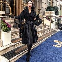 le palais vintage 2018W Classic Ball Gown Black Dress Half Batwing Sleeve Low Cut Velor Collar Dazzle Crochet Patchwork Jacquard