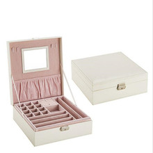 Fashion jewelery box with  mirror leather jewelry double layers store crocodile pattern
