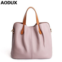 AODUX Girl Genuine Leather Small Women Bucket Tote Bags Ladies Real Leather Female Handbags Teenagers Messenger Bag Hobo Satchel