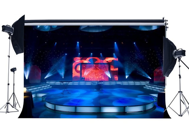 Luxurious Stage Show Backdrop Band Concert Backdrops Bokeh Shining Stage Lights Lantern Interior Photography Background