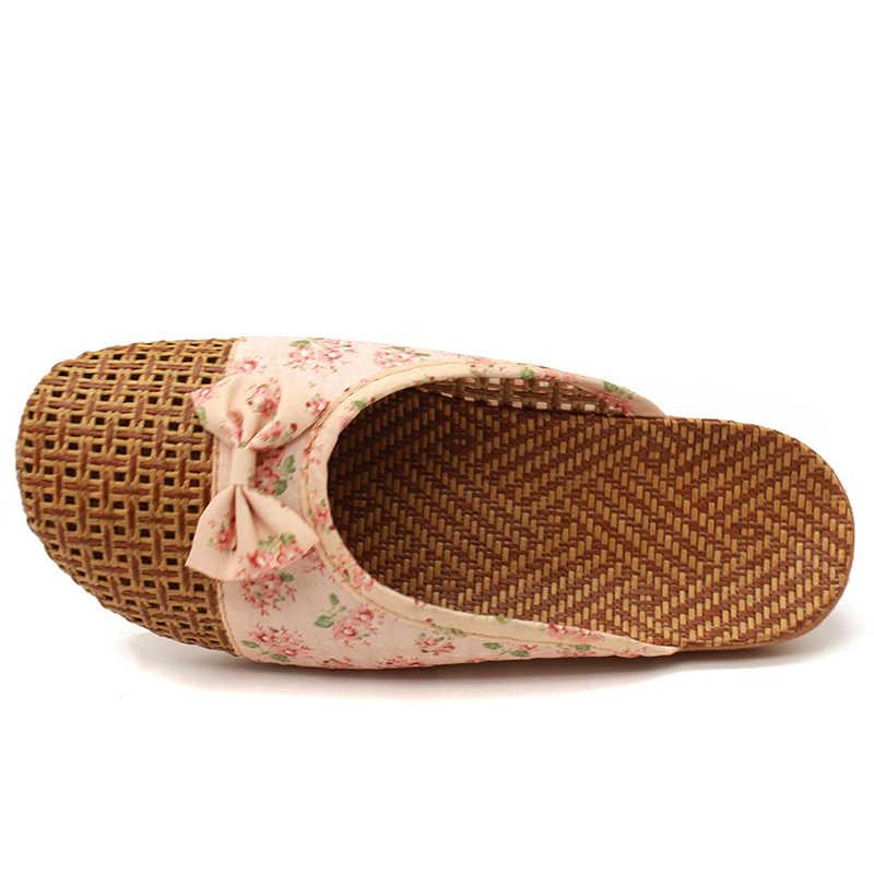 Kadın keten terlik 2020 rahat slaytlar çiçek yay keten rahat kapalı ayakkabı kadın yaz sandalet Zapatillas De Mujer