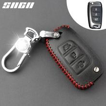 SNCN Genuine Leather Car Key Case For Hyundai Solaris 2 Elantra I30 I35 I40 Tucson 2015 2016 2017 2018 Remote Protector Cover