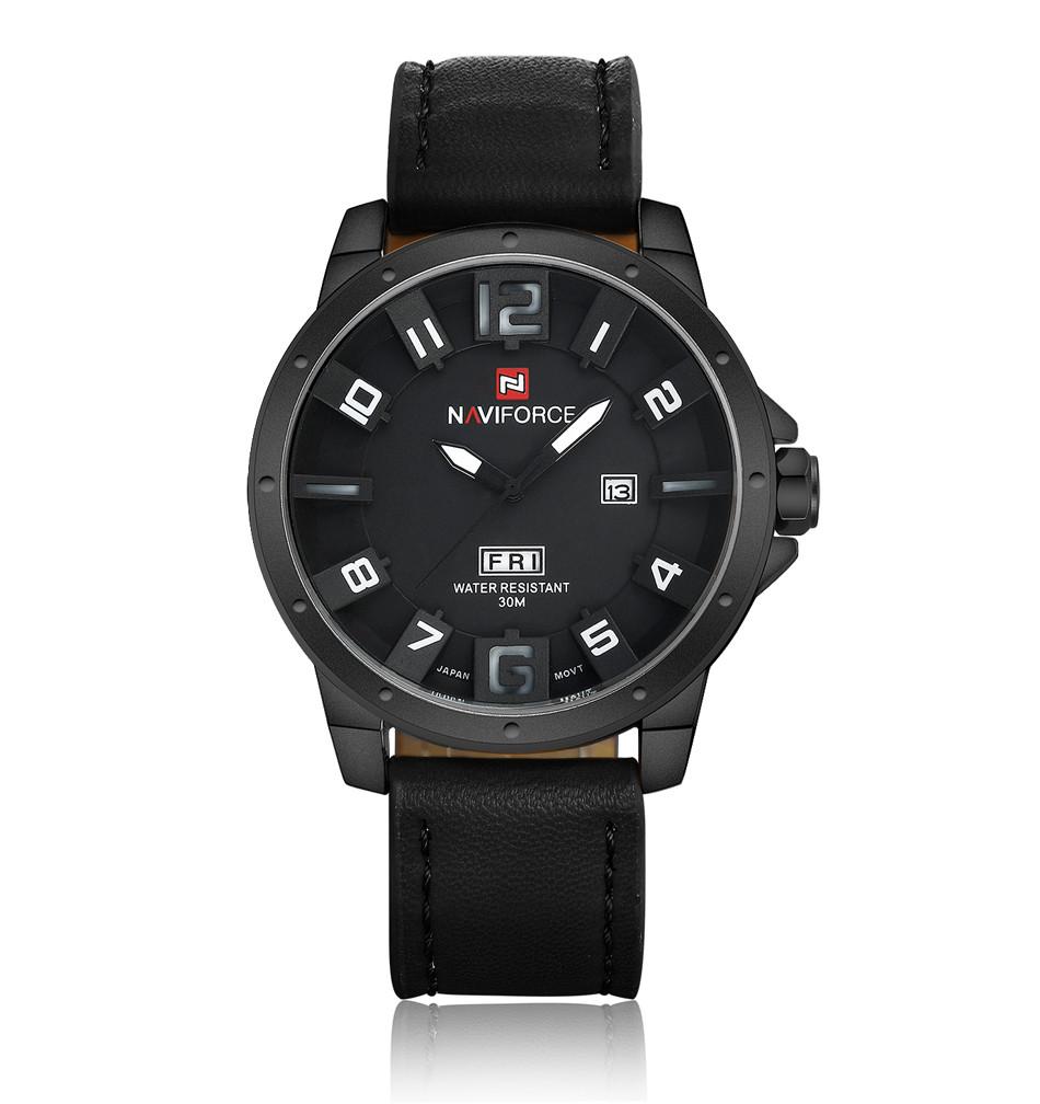Naviforce NF9061 Military Quartz Watch Men Black Leather Strap