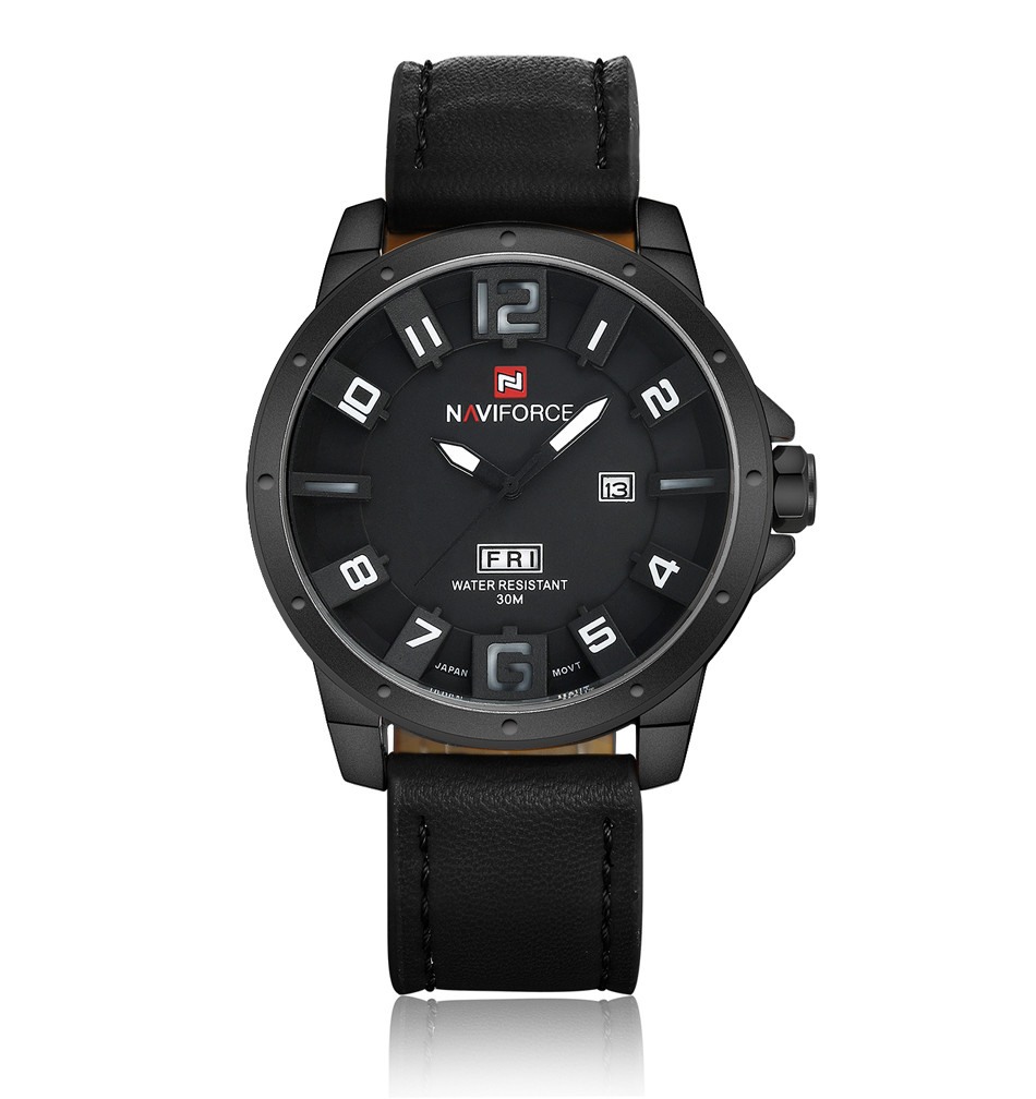 Naviforce NF9061 Military Quartz Watch Men Black Leather Strap