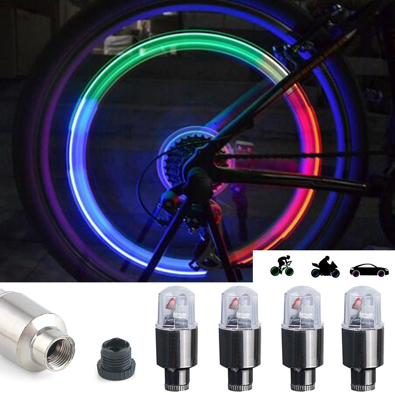 New 4pcs LED Car Wheel Tyre Tire Air Valve Stem Cap Light Lamp Waterproof Colorful Blue/Red/RGB Cap Spoke Flash Lights