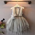2015 Menina Princesa Vestido Sem Mangas O pescoço Vestido Da Menina de Fios Sem Colar Cor Cinza Vestidos Para O Bebé