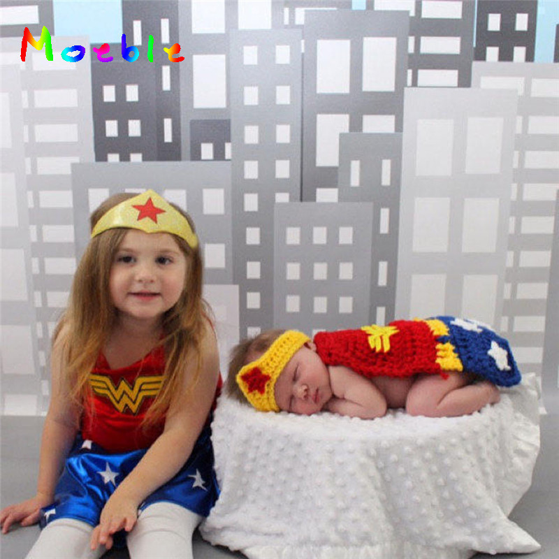 2018 Superhero Newborn Baby Crochet Wonder Woman Costume Knitted Infant Baby Girls Photography Props Newborn Photo Shoot Outfit high quality new style mermaid tail shape newborn handmade crochet knitted costume outfit