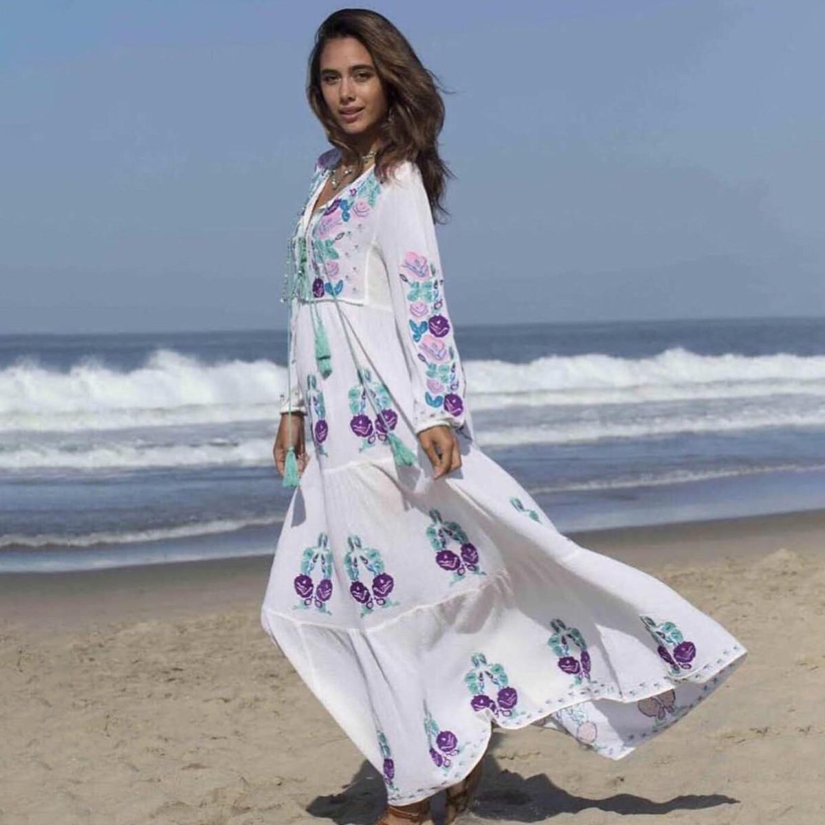 Naturel Lara brodé Maxi robe femmes 2019 été automne à manches longues col en V à lacets robe Boho Hippie plage blanc longue robe