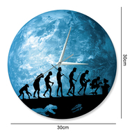 Funlife Menschlichen Evolution Wanduhr  Glow in The Dark Earth Uhr Home Decor  Quarz Sweep bewegung  stille für Schlafzimmer  30cm 12in|the wall clock|wall clockthe clock -