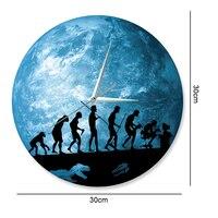 Funlife Tiến Hóa Của Con Người Đồng Hồ Treo Tường, Glow in the Dark Trái Đất Clock Trang Trí Nội Thất, Thạch Anh phong trào Sweep, Sự Im Lặng cho Phòng Ngủ, 30 cm 12in