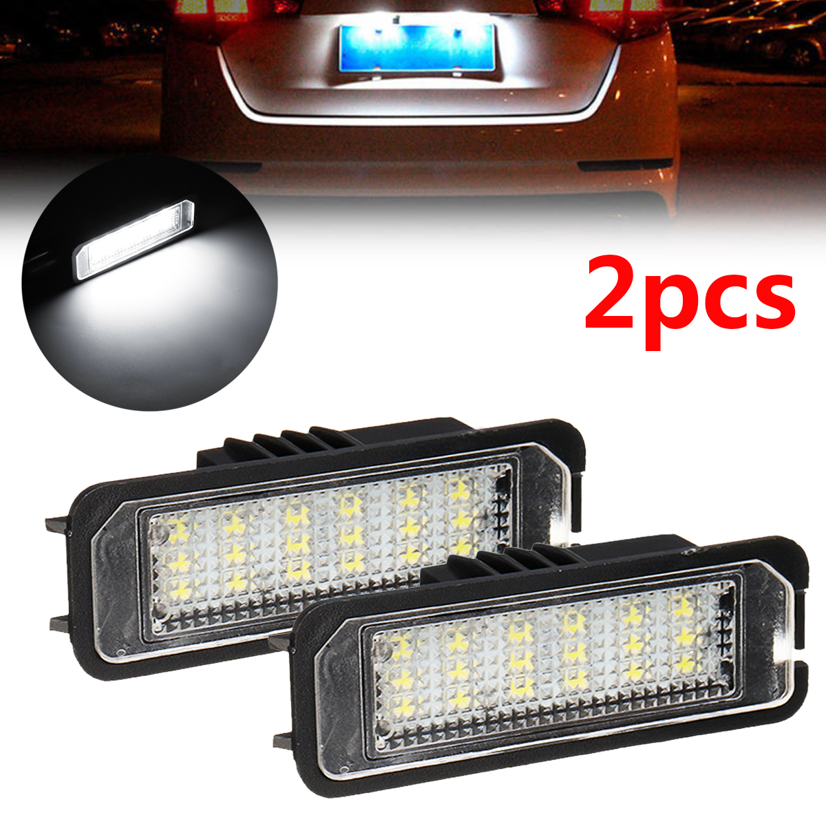 Autoleader 2pcs LED License Plate Light for VW Golf 4/ 5 Passat 3C Limo Lupo Polo 9N Universal Cable Auto Car Lights Signal Lamp 2x 18 led canbus auto number license plate light car styling lamp bulbs for vw altea eos polo passat skoda superb golf 5 6 4