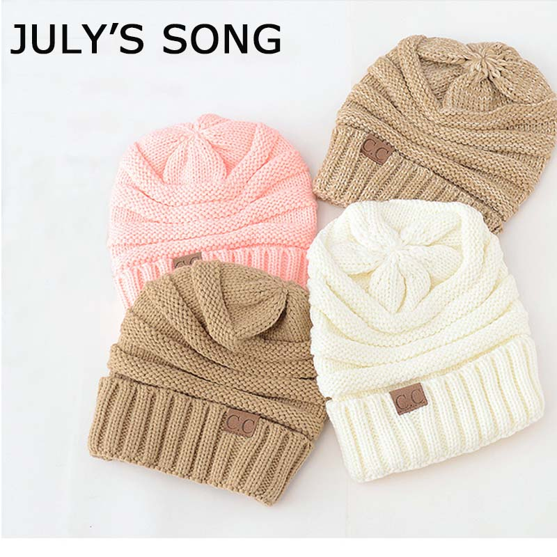 Drop Shipping CC   Beanie   Women's Hat For a Girl Winter Warm a Cap Messy Bun   Beanie   Knitted   Skullies     Beanies   Caps Knitted Hat