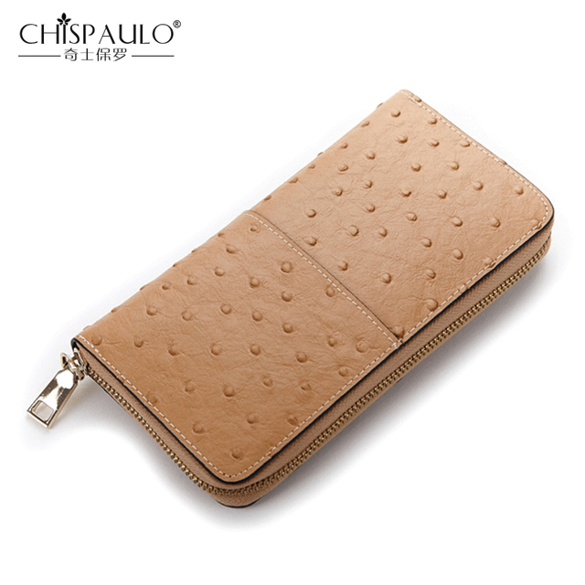 49fbdb61871f Genuine Leather Women Wallet Famous Brand Fashion Ostrich Skin Pattern  Clutch Bag Cow Leather Purse High Quality Standard Wallet