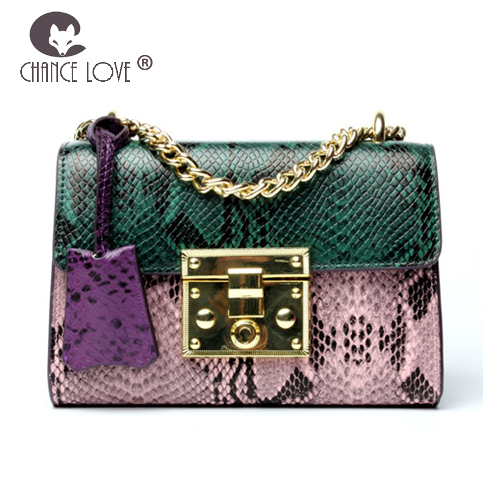 Chance Love Female snake pattern cowhide 2018 new Genuine leather chain bag fashion shoulder Messenger bag Pendant handbags недорго, оригинальная цена