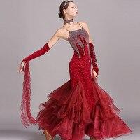 Ballroom dancing dress standard dresses modern dance costume luminous costumes ballroom dress waltz blue rhinestones dance wear