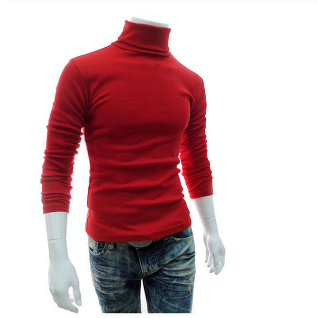New Turtleneck Solid Color Casual Sweater Slim Fit Brand Knitted Pullovers 3
