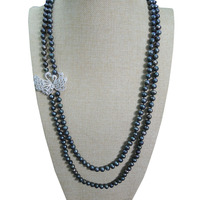 Double Swans freshwater Pearl Necklace Double Strands Natural Pearl Long Necklace Elegant&Party Formal Pearl Jewelry