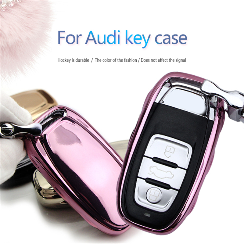 New Soft TPU Car Key Case Cover For Audi A3 8P 8L A4 RS3 A6 4F TT Mk1 100 Q5 Q7 A4L A6L Key Ring Shell Accessories