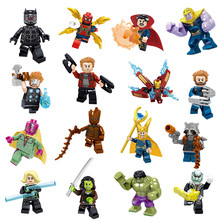 16Pcs/lot Avengers LegoINGlys Marvel Infinity War Figure Super Heroes Thanos Black Panther Hulk Buster LegoINGlys Bricks Kid Toy(China)