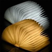 Wooden Foldable LED Night Light Booklight LED Folding Book Lamp USB Rechargeable For Decor Desk Table