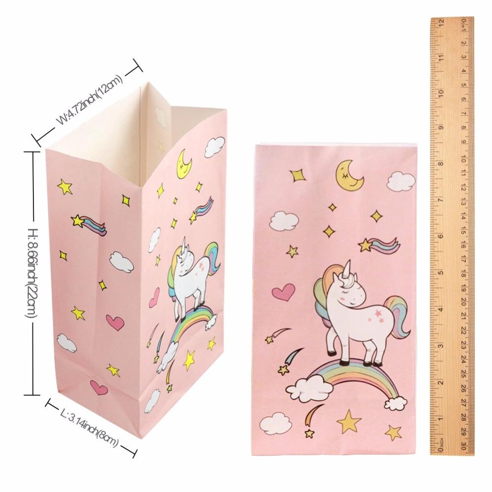 Aytai 12pcs Unicorn Party Pink Paper Bag With Sticker Gift para - Para fiestas y celebraciones - foto 2