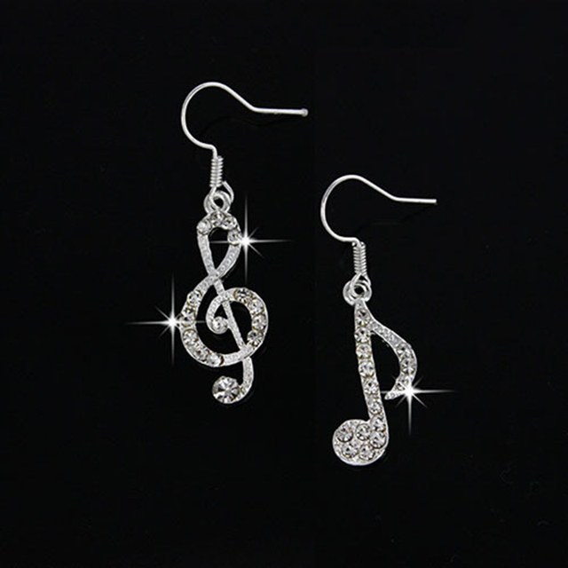 1 Pair Personality Trendy Music Notes Ear Hook Crystal Silver Lady Dangle Party Earring