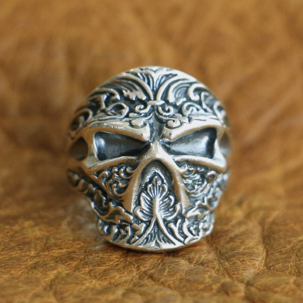 LINSION 925 Sterling Silver High Details Ninja Skull Ring Mens Biker Ring TA121 US Size 7