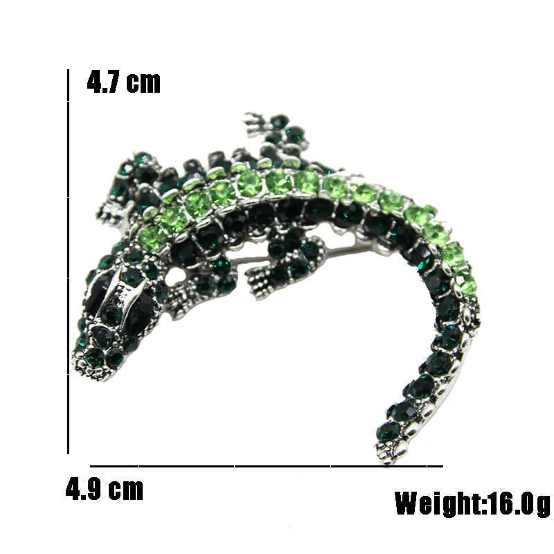 RHao Винтаж Зеленый Стразы крокодил Броши унисекс животное брошь булавки костюм корсаж Свадебная вечеринка ювелирные изделия аксессуары Подарки