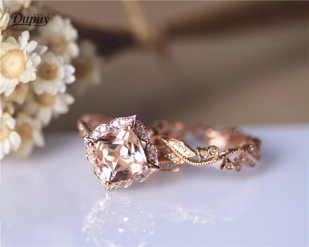 DUPUY 8mm Coussin Cut Morganite Bague Diamants Halo & Vintage Plein Diamant Éternité Anneau De Mariage Solide 14 K Rose D'or De Mariée Ensemble