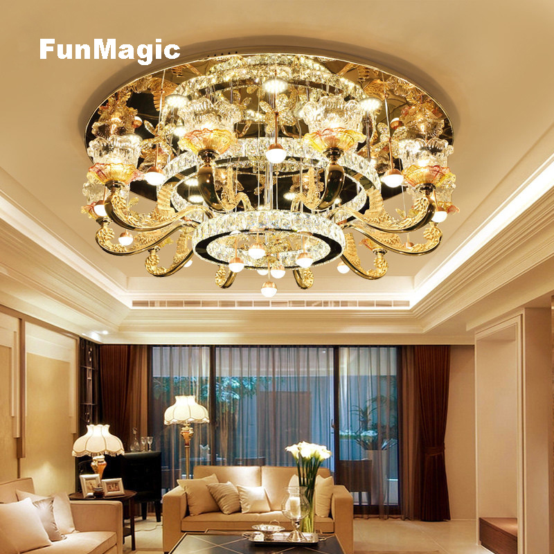 European Luxury Crystal Ceiling Lights Hall Lights 10 Arms Living Room Round LED Crystal Lighting Bedroom Ceiling Fixture Lamp