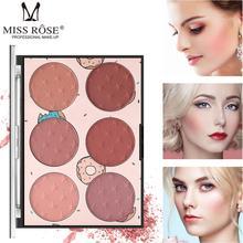 MISS ROSE Brand 6 color blush natural lasting transparent window pro-skin rouge makeup box color makeup box все цены