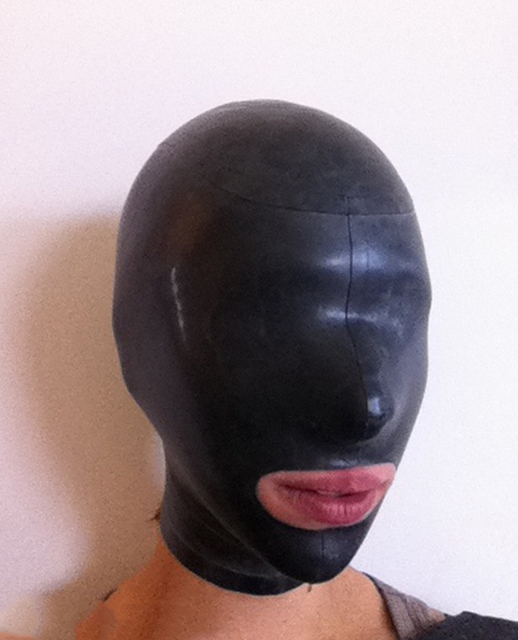 Latex Fetish Hood Open Mouth Only Latex Full head Mask Back Zipped