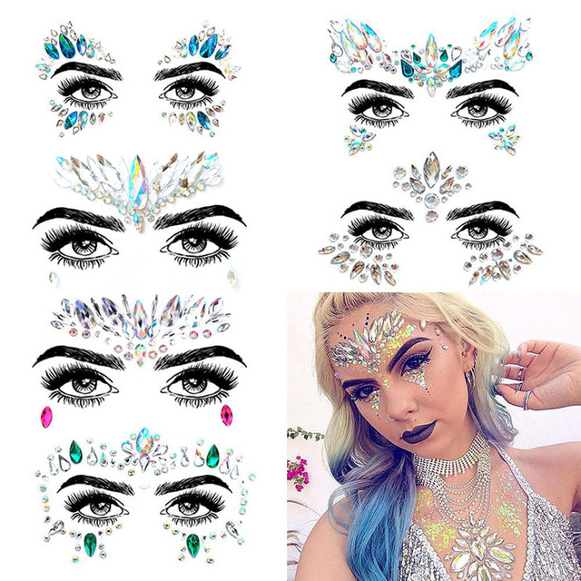 6 PC Face Jewels Make Up Adhesive Face Jewels Gems Temporary TattooFestival Party  Body Gems Rhinestone Flash Tattoos Stickers a88154de4a53