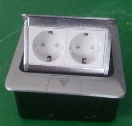 ФОТО New 2 European floor socket with press switch Made By Iron Silver/Yellow free shipping